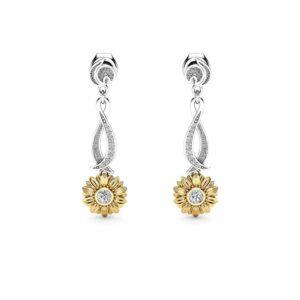 Sunflower Earrings Bridal Earrings Gold Drop Diamond Earrings Nature Inspired Jewelry