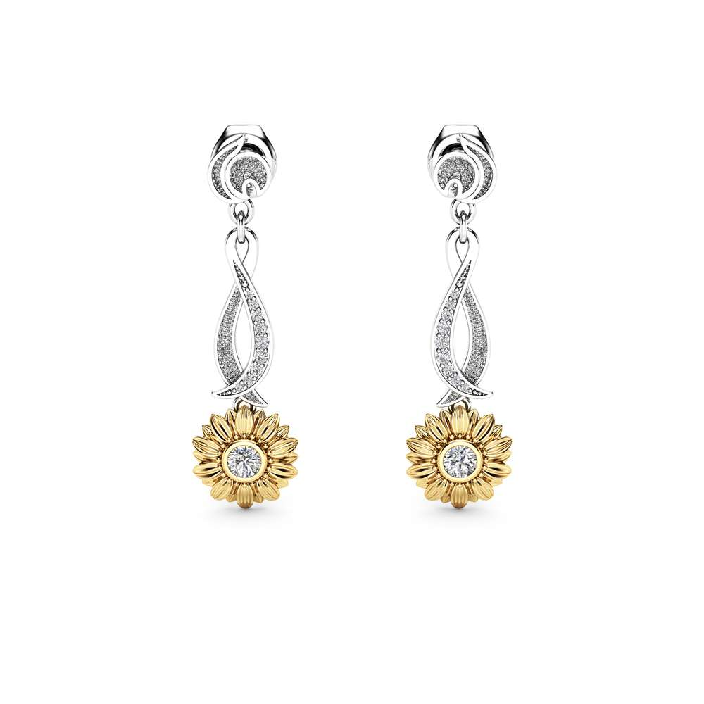 Sunflower Earrings Bridal Earrings Gold Drop Diamond Earrings Nature Inspired Jewelry