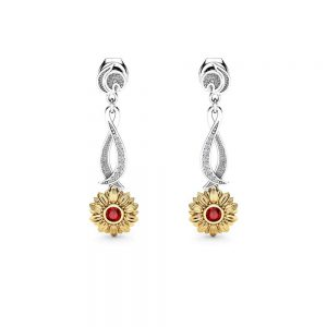 Gold Diamond Earrings Gold Bridal Jewelry Gold Bridesmaid Jewelry Red Ruby Sunflower Drop Earring