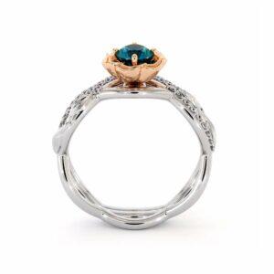Blue Diamond Bridal Set 14K White & Rose Gold Ring Unique Flower Engagement Rings