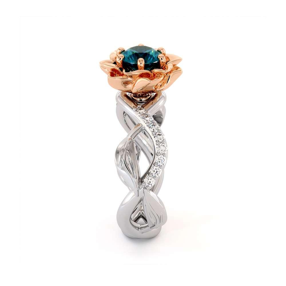 Blue Diamond Engagement Ring 14K White & Rose Gold Ring Unique Flower Engagement Ring