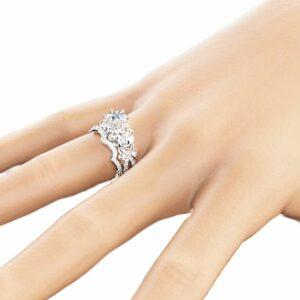 14K Gold Moissanite Engagement Ring Set Unique Moissanite Bridal Ring Set White Gold Flower Engagement Rings