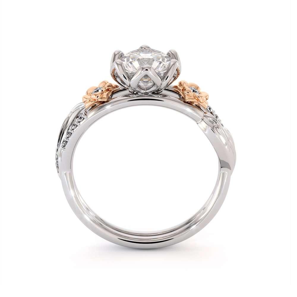 Moissanite Engagement Ring 14K White & Rose Gold Ring Unique Flower Leaf Engagement Ring