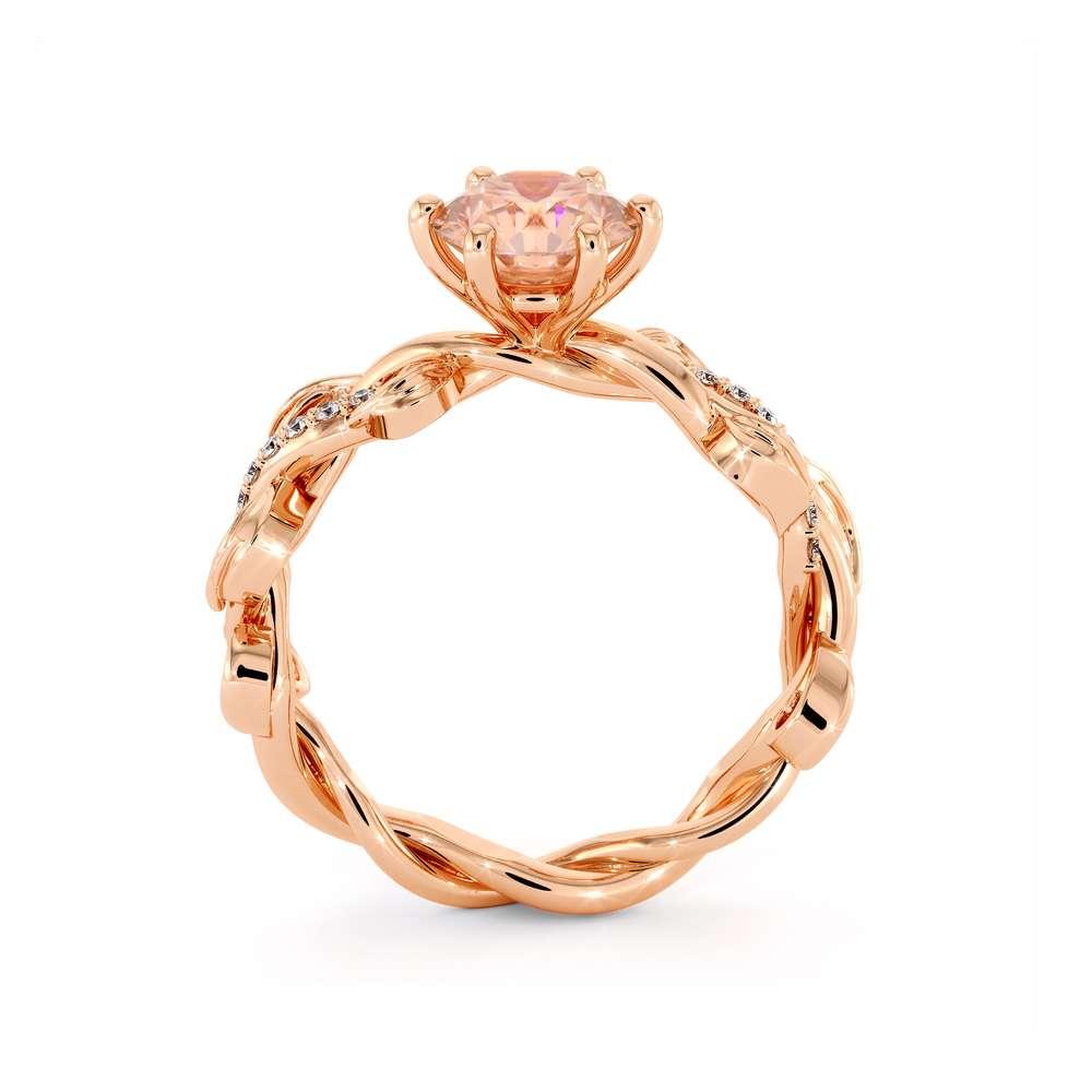 Morganite Engagement Ring 14K Rose Gold Ring Unique Leaves Twisting Engagement Ring