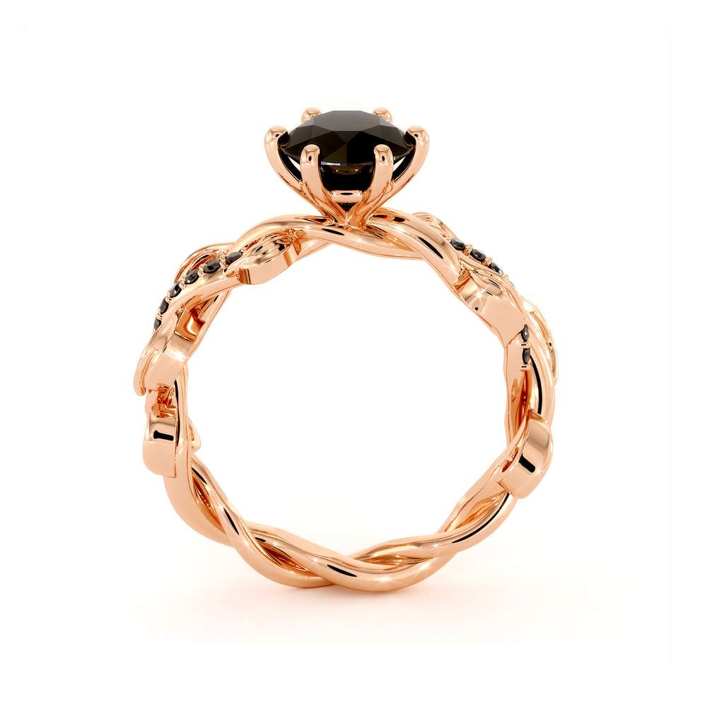 Black Diamond Engagement Ring 14K Rose Gold Ring Unique Leaves Twisting Engagement Ring