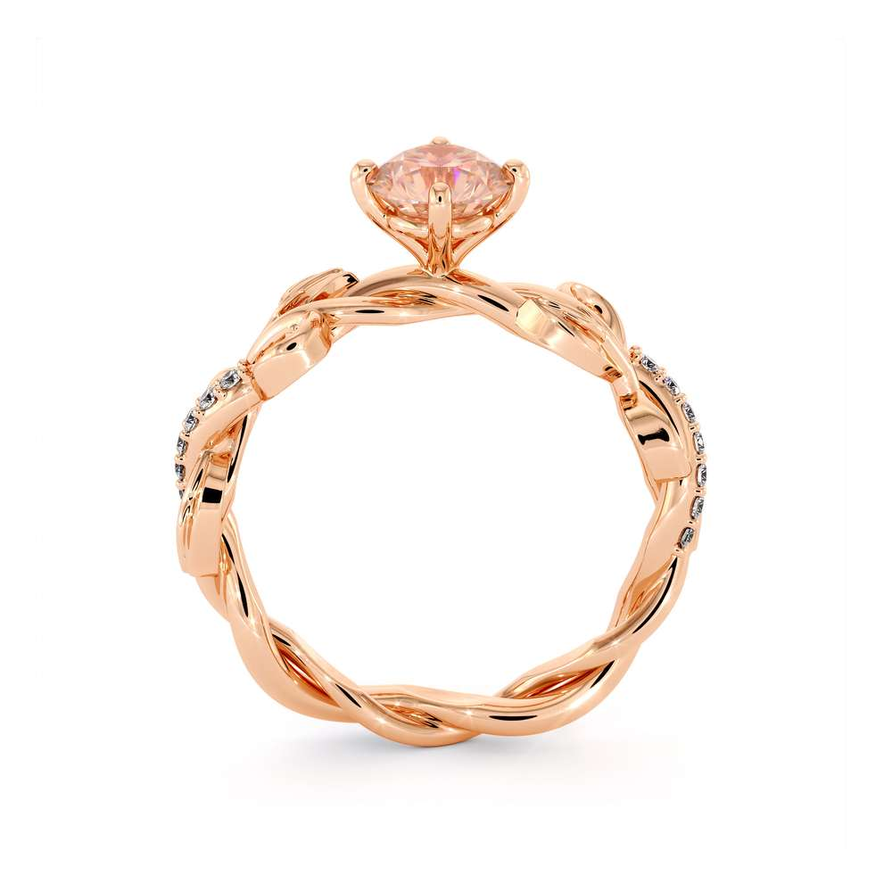 Unique Morganite Engagement Ring 14K Rose Gold Ring Leaves Twisting Engagement Ring