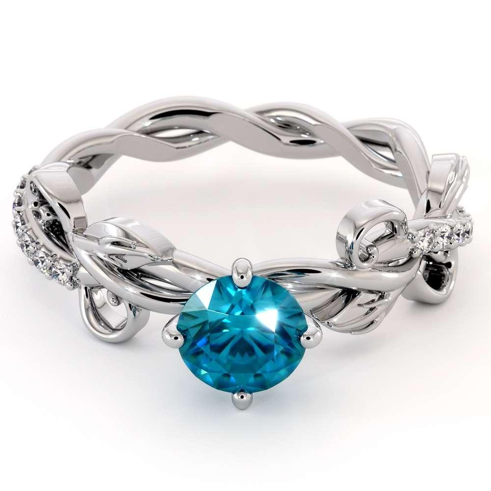 Unique Blue Diamond Engagement Ring 14K White Gold Ring Leaves Twisting Engagement Ring