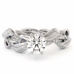 Moissanite Engagement Ring 14K White Gold Ring Leaves Twisting Engagement Ring