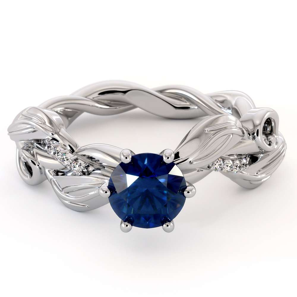 Blue Sapphire Engagement Ring 14K White Gold Leaves Ring Unique Twisting Engagement Ring