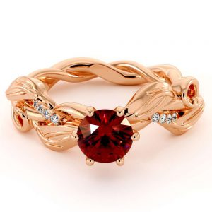 Unique Ruby Engagement Ring Leaves Twisting Bridal Ring 14K Rose Gold Engagement Ring