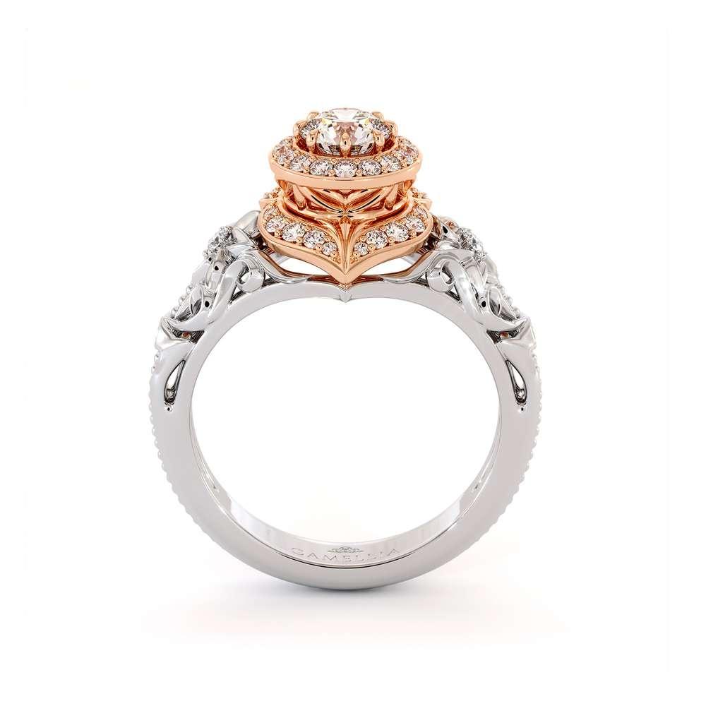 Diamond Engagement Ring 14K Rose & White Gold Vintage Engagement Ring