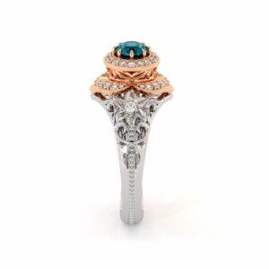 Blue Diamond Engagement Ring 14K Rose & White Gold Vintage Engagement Ring