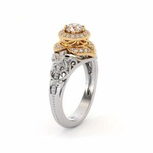 Diamond Engagement Ring 14K White Gold Vintage Engagement Ring