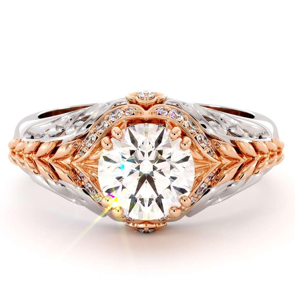 Moissanite Engagement Ring 14K White & Rose Gold Ring Halo Engagement Ring