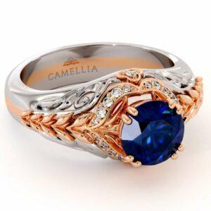 Sapphire Engagement Ring 14K White & Rose Gold Ring Halo Engagement Ring