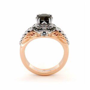 Black Diamond Engagement Ring 14K White & Rose Gold Ring Halo Engagement Ring