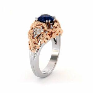 SapphireEngagement Ring  White & Rose Gold Ring Art Deco Engagement Ring