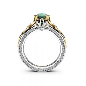 Antique 1 Carat Emerald Engagement Ring 14K White and Yellow Gold Ring Unique Vintage Engagement Ring