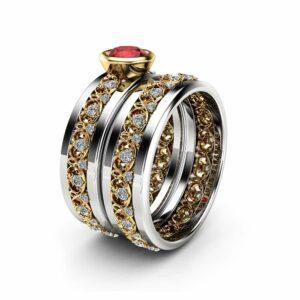 Ruby Engagement Ring 14K Two Tone Gemstone Ring Red Natural Ruby Bridal Set Rings