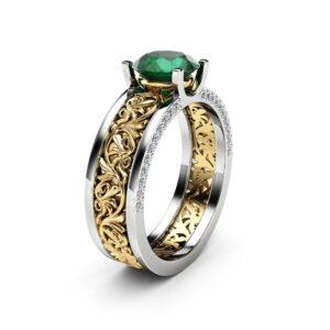 Unique Art Deco Engagement Ring 14K Two Tone Gold 1.28 Carat Moissanite Ring Vintage Moissanite Engagement Ring