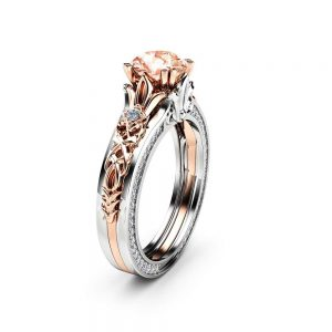 Peach Sapphire Engagement Ring Antique Engagement Ring 14K Two Tone Gold Ring Vintage Engagement Ring