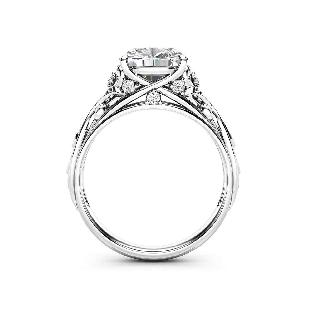 Cushion Moissanite Engagement Ring 14K White Gold Cushion Ring Unique Moissanite Engagement Ring Art Deco Ring
