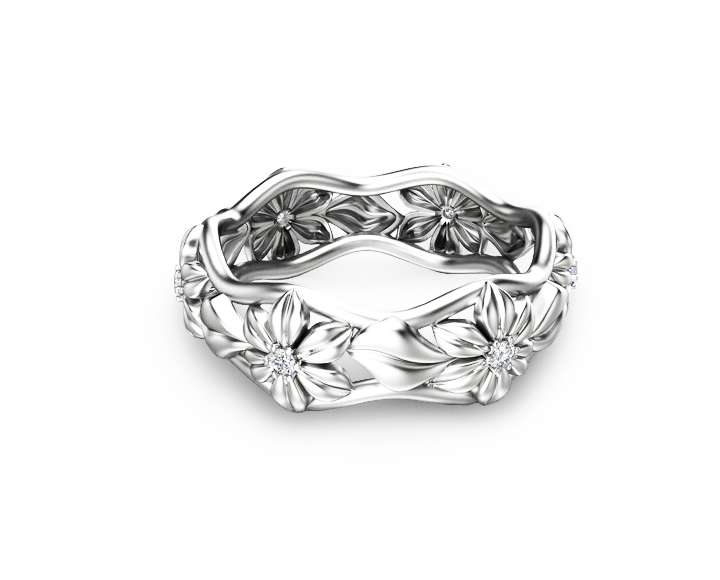 Diamond Eternity Wedding Band in 14K Solid White Gold Anniversary Ring Camellia Jewelry