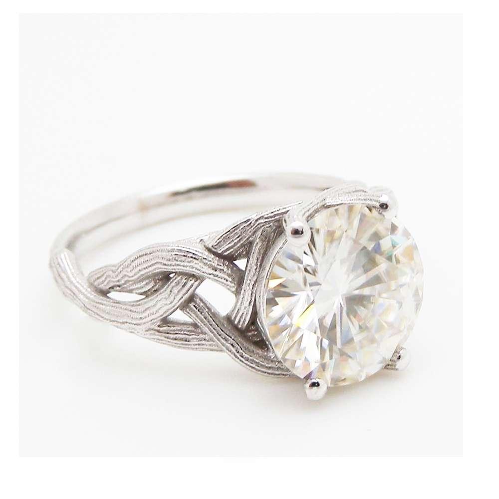 3.8 carat Moissanite Engagement Ring Forever Brilliant Moissanite Engagement Ring Unique Twig Engagement Ring
