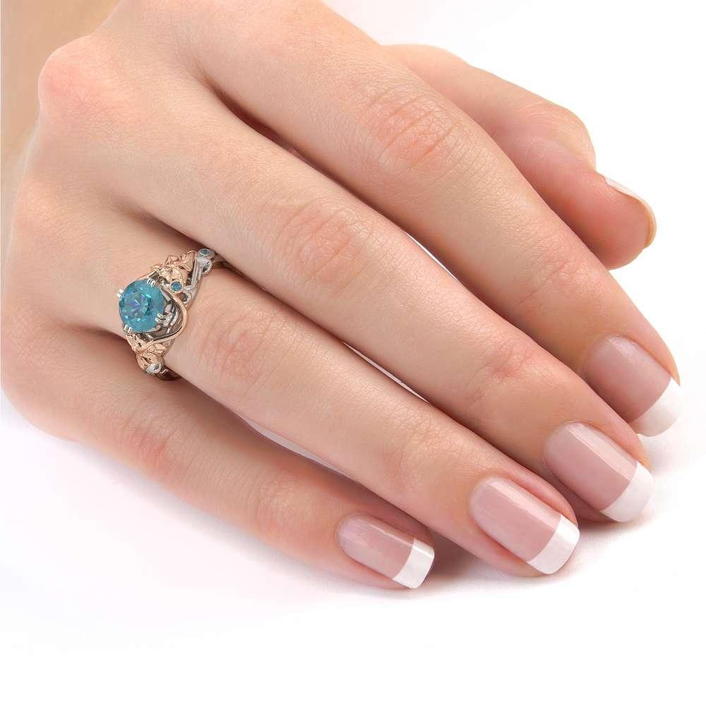 Vintage Engagement Ring Rose & White Gold Ring Moissanite Engagement Ring