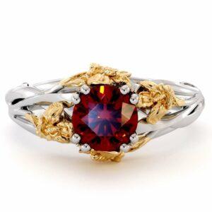 Flower Engagement Ring Ruby Engagement Ring 14K White Gold Ring