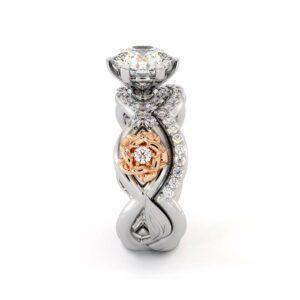 Moissanite Engagement Ring Set 14K White & Rose Gold Ring Flower Engagement Ring