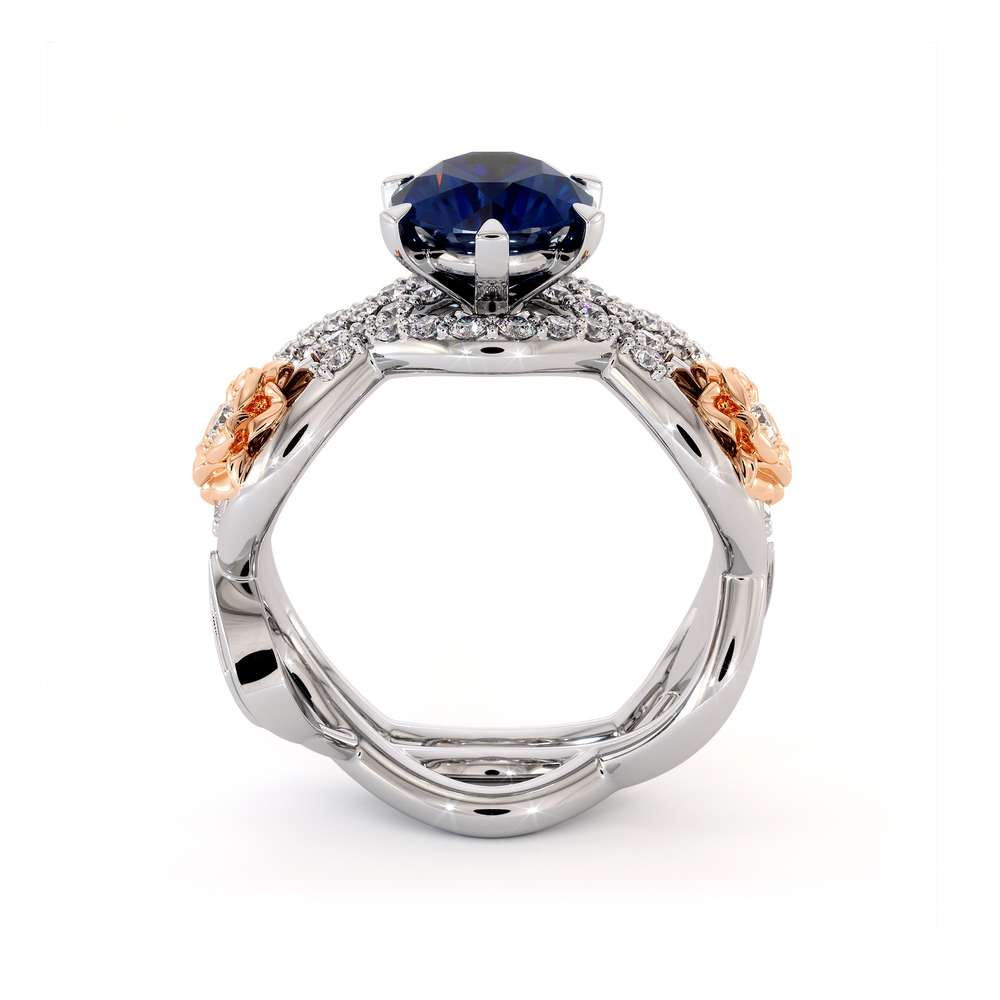 Blue Sapphire Engagement Ring Set 14K White & Rose Gold Ring Unique Flower Engagement Rings