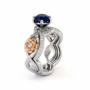 Blue Sapphire Engagement Ring Set 14K White & Rose Gold Ring Unique Flower Engagement Rings