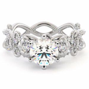 Flowers Moissanite Engagement Ring 14K White Gold Ring Unique Engagement Ring