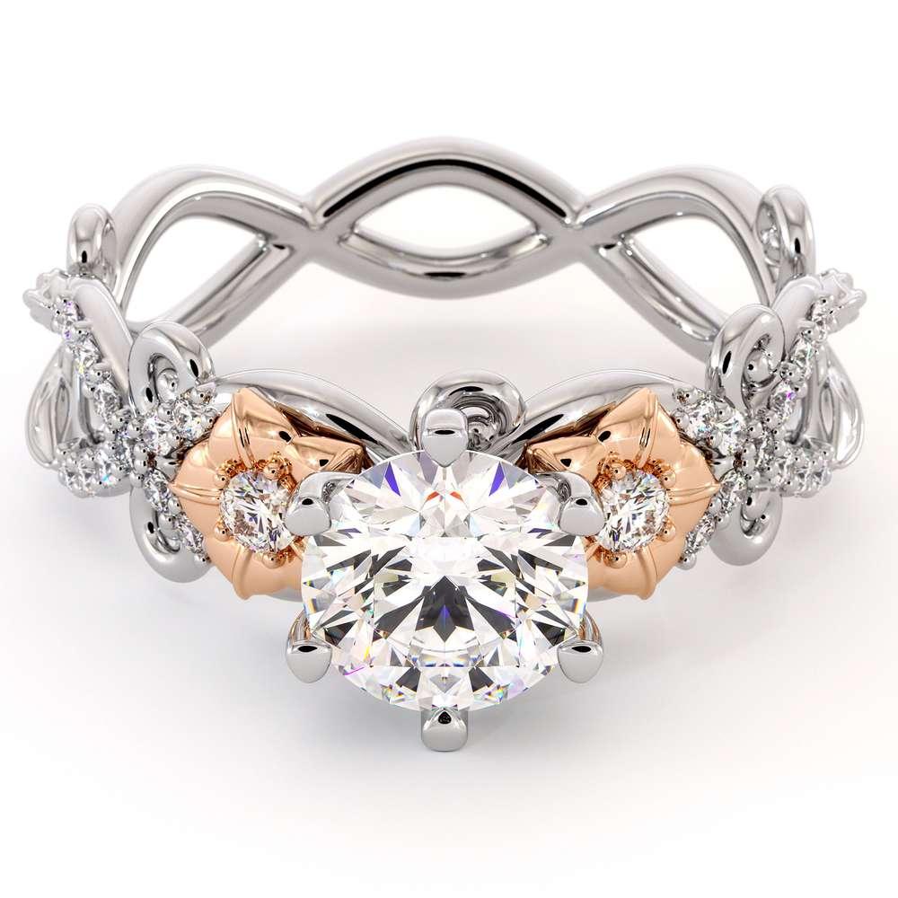 Flowers Moissanite Engagement Ring 14K White & Rose Gold Ring Unique Engagement Ring