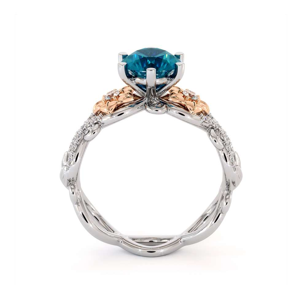 Blue Diamond Engagement Ring Unique Flowers Engagement Ring 14K White & Rose Gold Ring
