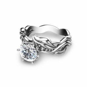 Moissanite Leaves Engagement Ring 14K White Gold Engagement Ring Solitaire Moissanite Ring
