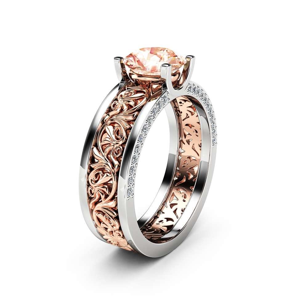 Art Deco Engagement Ring 14K White and Rose Gold Engagement Ring Natural Morganite 1.28 Carat Vintage Ring