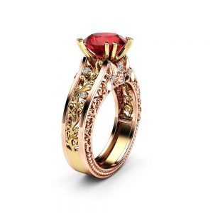 Unique Art Deco Engagement Ring Natural Ruby Engagement Ring 14K Two Tone Gold Ring Unique Gemstone Ring