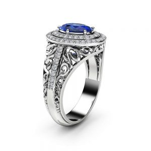 Oval Halo Blue Sapphire Engagement Ring 14K White Gold Diamond Halo Ring Oval Cut Gemstone Ring Filigree Styled Engagement Ring