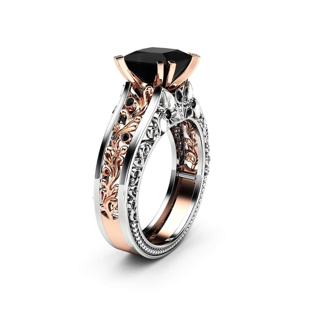Princess Black Diamond Engagement Ring 14K Two Tone Gold Ring Victorian Black Diamond Engagement Ring