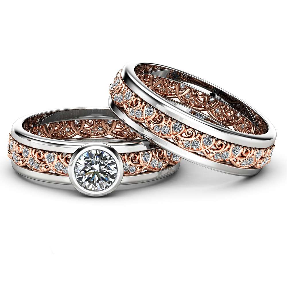 Vintage Bridal Sets Rings 14K Rose Gold Diamond Ring Unique Filigree Engagement Rings