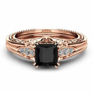 Black Diamond Victorian Engagement Ring Princess Black Diamond Engagement Ring 14K Rose Gold Victorian Ring