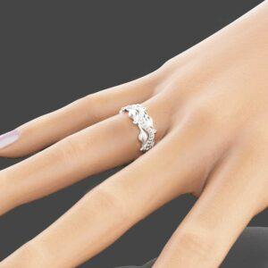 Leaf Design White Gold Wedding Ring 14k White Gold Wedding Band Commitment Ring