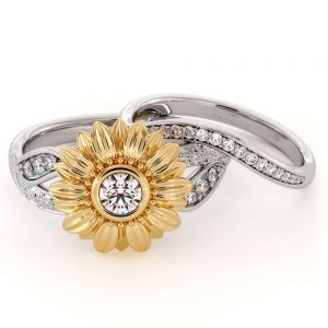 Sunflower Engagement Ring Set Diamond Engagement Ring Rose and White Gold Ring