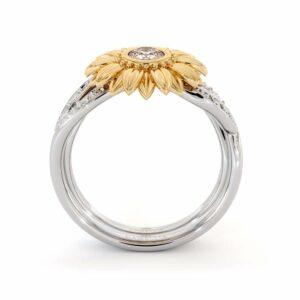 Sunflower Engagement Ring Set Diamond Engagement Ring Rose and White Gold Ring