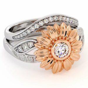 Sunflower Engagement Ring Set Diamond Engagement Ring Rose & White Gold Ring
