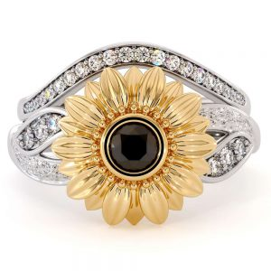 Sunflower Engagement Ring Set Black Diamond Engagement Ring White Gold Ring