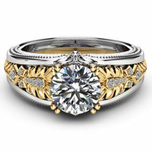 Unique Moissanite Engagement Ring 2 Carat Moissanite Ring 14K Two Tone Engagement Ring Art Deco Ring
