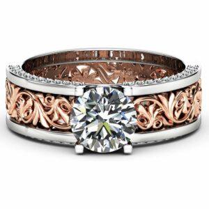 Unique Art Deco Engagement Ring 14K Two Tone Gold Moissanite Ring Vintage Moissanite Engagement Ring